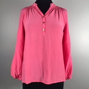Lilly Pulitzer Hot Pink Silk Blouse Size XS